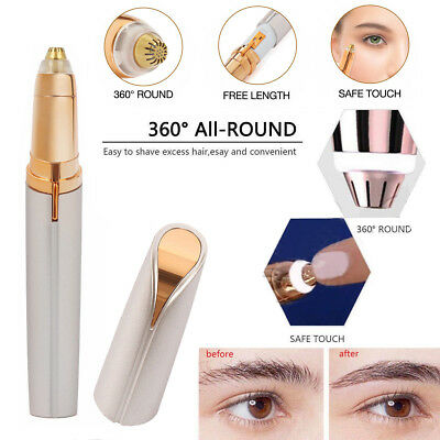 Women's Painless Brows Trimmer Electric Facial Hair Eyebrow Removal LED Light UK