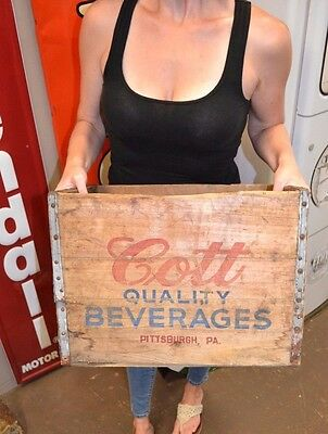 Vintage 1954 Cott Beverages Wooden Advertising Crate