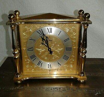 """vintage Imhof clock 15 Jewels 8 Day Swiss made solid brass case """"RARE"""" 1960s"""