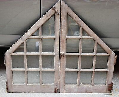 Pair Antique Window Divided Glass Shabby Cottage Chic c.1895 +Frame