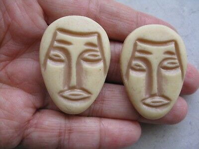 Older Vintage Carved Celluloid Pair of Large Button Collectible