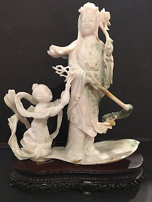 8 IncH 100% Natural Jade Stone  Guanyin And Child Statue With Carved Base