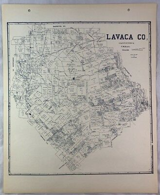 Antique General Land Office Map Lavaca County Texas Showing Plats ++