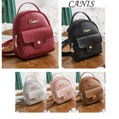 US STOCK Women Girl Mini PU Leather Backpack Rucksack School Bag Hiking Handbag