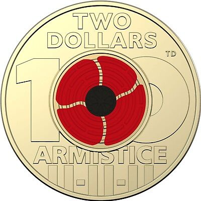 2018 Remembrance Day - Armistice Centenary $2 Coloured Coin - From Mint Bag (#4)