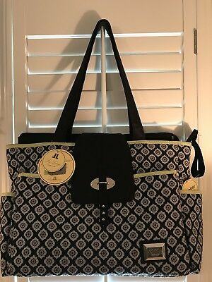 Liz Lange Large Size Diaper Bag Black/Gray/Green NWT