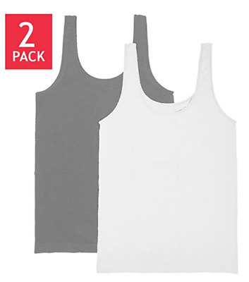 Carole Hochman Ladies' 2-pack Scoop Neck Layering Tank White and Charcoal
