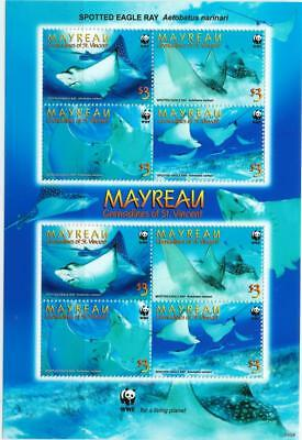 MAYREAU  - 2009 'SPOTTED EAGLE RAY'  Mini Sheet [WWF 435]  MNH  [6384]