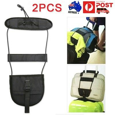 2x Add A Bag Strap Luggage Travel Suitcase Adjustable Tape Belt Tie Carry Bungee