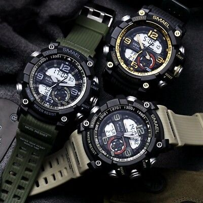 Men's Sport Military Army Waterproof 5ATM Digital  Dual Time Alarm Wrist Watch