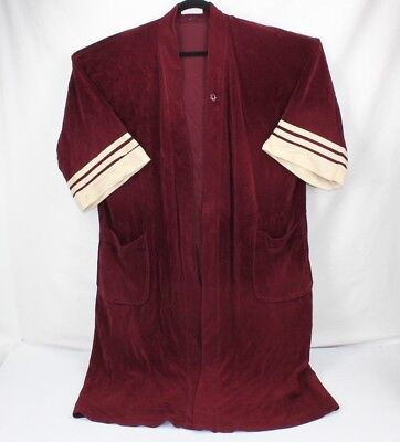 CHRISTIAN DIOR MENS ROBE Vintage Burgundy with Cream Detail Mid-Sleeve Chambre