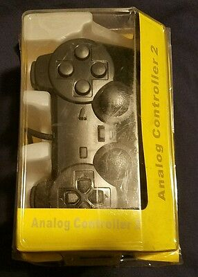 New BLACK - PS2 Shock Controller (Sony PlayStation 2) Dual Vibration Gamepad