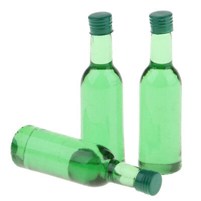 Dollhouse Miniature 3 Pieces Drinking Wine Bottles Green Set for 1:12 Scale