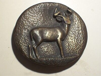 JAMES AVERY Bronze Belt Buckle with 3-D Deer / Buck