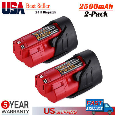 12V 2.5Ah Lithium Battery Replace For Milwaukee M12 48-11-2402 48-11-2460 2PACK
