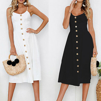 Women Holiday Strappy Button Ladies Summer Beach Midi Swing Sundress Casual Maxi
