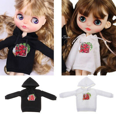 1/6 Stylish Casual Hooded Sweatshirt Pullover Tops Costume For Blythe Doll