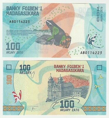 Madagascar 100 Ariary 2017 P-97a  UNC Uncirculated Banknote Frog + FREE BANKNOTE
