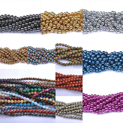 DIY Handmade Natural Gemstone Round Spacer Loose Beads 4mm 6mm 8mm 10mm Choice