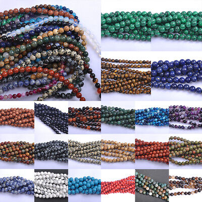 Series Lots Natural Gemstone Spacer Loose Beads 4mm 6mm 8mm 10mm Stone DIY Beads