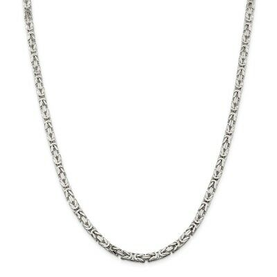 """925 Sterling Silver 4.25mm Byzantine Chain Necklace Size 18"""""""