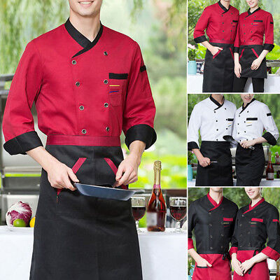 Unisex Men Womens Chef Jacket Double Breasted Coats Cook Clothes Baking Uniforms