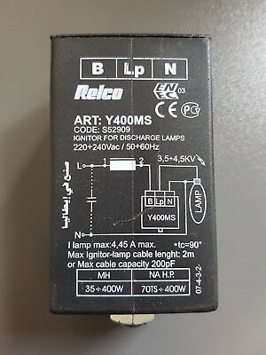 Relco S52909 Y400Ms Igniter 3 Wires 35 400W Jm - 70 400W Sap 42X90X35Mm