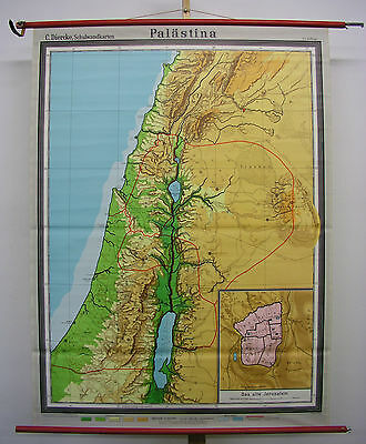 Schulwandkarte Wall Map Holy Vowed Country Palestine Israel Bible 117x158 1970