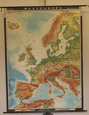 Schulwandkarte Beautiful Western Europe 158x213 Vintage School Map 1973