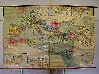 Schulwandkarte Beautiful Old Mediterranean Roman Empire 220x146c Vintage