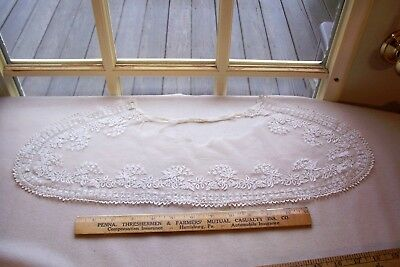 Vtg Antique Victorian Cotton Hand Embroidered Lace Collar