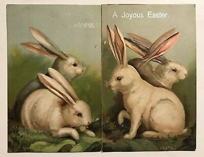 Beautiful~Lot of 2 White Bunny Rabbits ~Antique 1908 Easter Postcards-a492