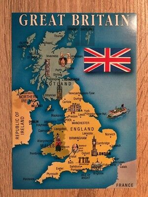 Postkarte Mapkarte Great Britain