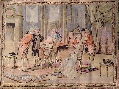 Vintage French Tapestry Victorian Era Parlor Hanging Wall Decor Piano Music