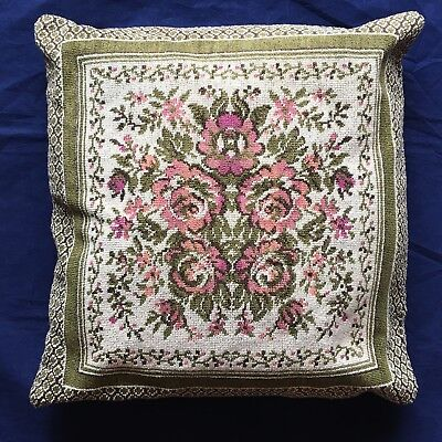 """Vintage Needlepoint Embroidered Throw Pillow Flowers Roses Wool  14"""" x 14"""