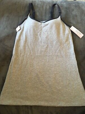 A15 Gilligan & OMalley Heather Grey Nursing Tank Small Front buttons Clips Long