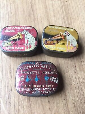 Job Lot Vintage Advertising Gramophone Record Needle Tins Edison Bell HMV
