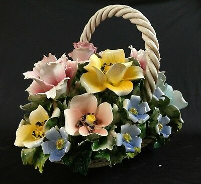 NEW Capodimonte Flower Basket Centerpiece, Made in Italy