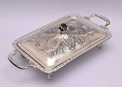 Beautiful Sterling Silver Repousse Covered Serving Tray. In Its Original Box