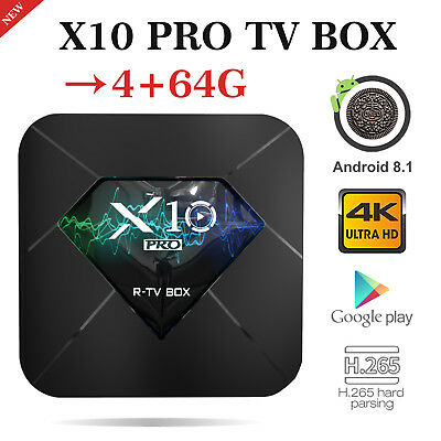 2019 X10PRO 4+64G DDR4 Android 8.1 Quad Core Smart TV Box WIFI USB3.0 HDMI 3D 4K