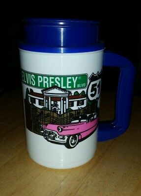ec9b7a45c12 Elvis Presley Blvd Pink Cadillac Insulated Travel Mug/Cup 2002 Whirley 16 oz