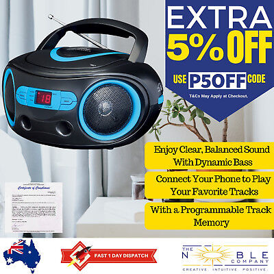 Portable CD Player AM FM Stereo MP3 Player Boombox Radio AUX Input Battery Power