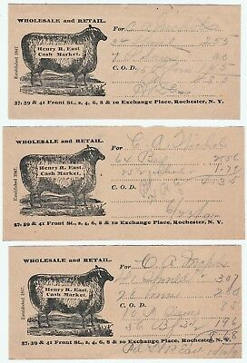 RARE Billhead Receipt LOT of 3 - Sheep Graphic - H East Market Rochester NY 1891