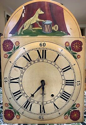 Antique Primitive Hand Painted 1800's Clock Face and Weight Driven Mechanism