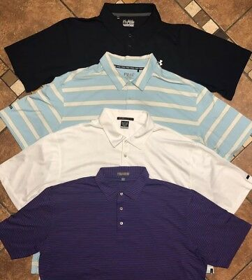 ef58fc9611b Lot Of 4 Golf Polo Shirts Peter Millar Tiger Woods Under Armour Ping Mens  XXL