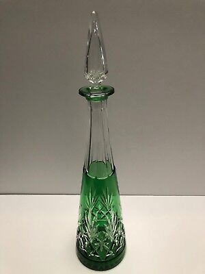 Saint Louis Hand Carved Green Cut To Clear Decanter