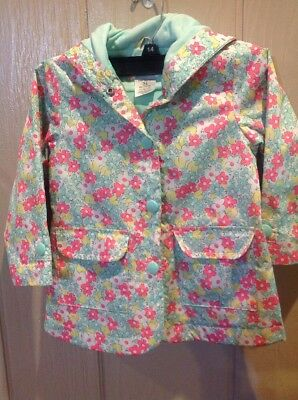 Carters Girls Size 3T Toddler Rain Coat Hoodie Lined Polyester