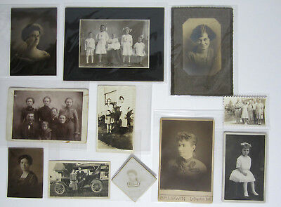 Lot of 11 Vintage Antique Photos Early Mid 1900s Late 1800s Pretty Girls Kids