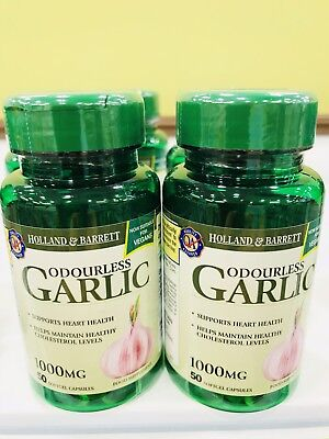 Holland&Barrett Odourless Garlic(2X50capsules,1000mg,Free International Postage)