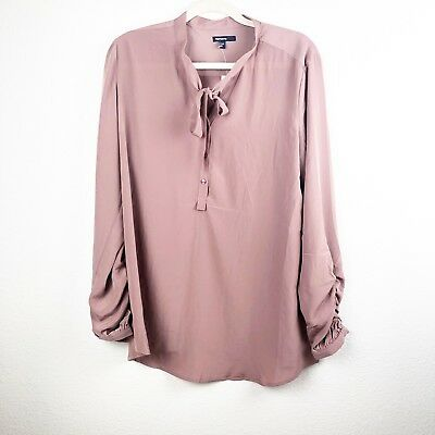 NWT Gap Maternity Womens Dark Mauve Long Sleeve Blouse with Neck Tie Size Large